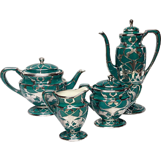 Stunning Lenox Silver Overlay Art Nouveau Tea & Coffee Set