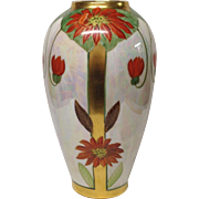 Stunning Pickard Signed N.R. Gifford Poinsettia Lustre Tall Vase