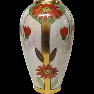 Stunning Pickard Signed N.R. Gifford Poinsettia Lustre Tall Vase