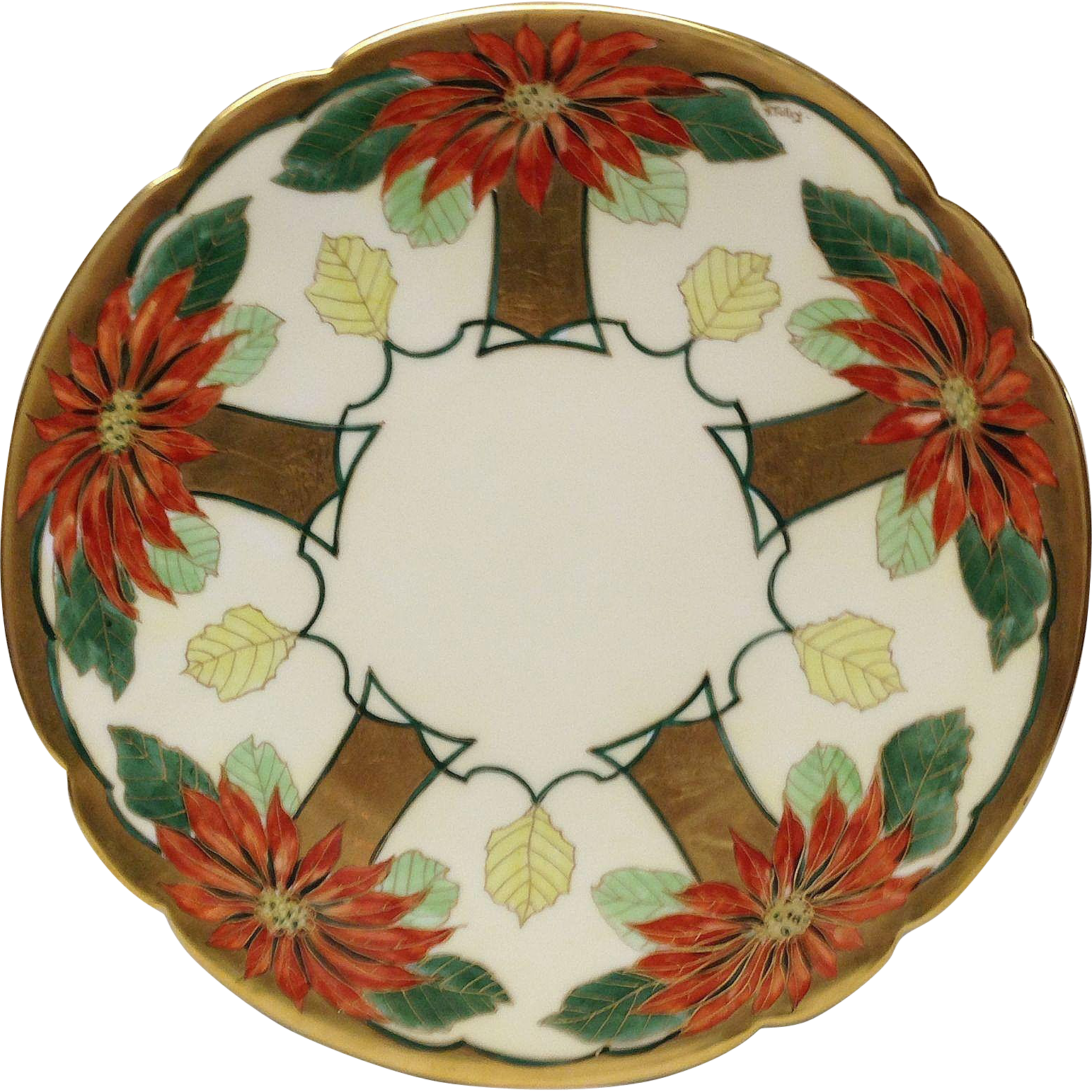 Stunning Pickard Signed H. Tolley Poinsettia Charger