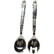 Georg Jensen Hollow Handle Salad Serving Set, 1945-51 Mark
