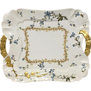 Stunning Haviland Square Handled Tray, Forget Me Nots, Blank 10