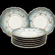 Set(8) Stunning Antique Haviland & Co. Celeste Blue Gold Encrusted Rococo Plates
