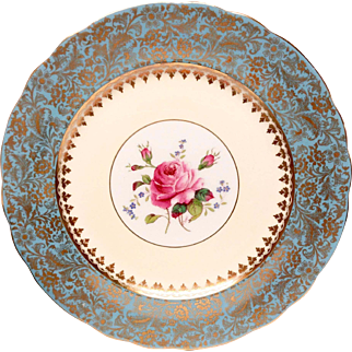 Set(12) Coalport Turquoise & Gold Artist Signed Service Plates