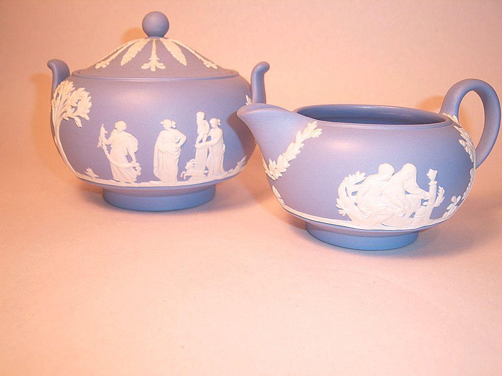 Wedgwood Blue Jasperware Sugar and Creamer Set