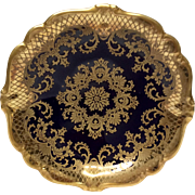 Stunning Rosenthal Cobalt & Gold Encrusted U.S. Zone Footed Bowl