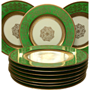 Set (10) Edgerton (Pickard) Green and Gold Service Plates