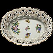 """Herend Queen Victoria 8"""" Open Weave Basket Gold Trim"""