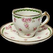 GDA Limoges Demitasse Cup & Saucer Roses