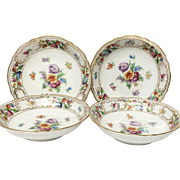 Set (4) Schumann Empress Dresden Flowers Fruit Bowls, U.S. Zone