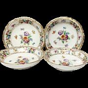 Set (4) Schumann Empress Dresden Flowers Fruit Bowls, U.S. Zone