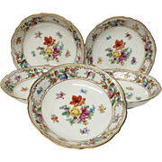 Set(5) Schumann Empress Dresden Flowers Fruit Bowls, U.S. Zone