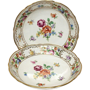 Set(2) Schumann Empress Dresden Flowers Fruit Bowls, U.S. Zone