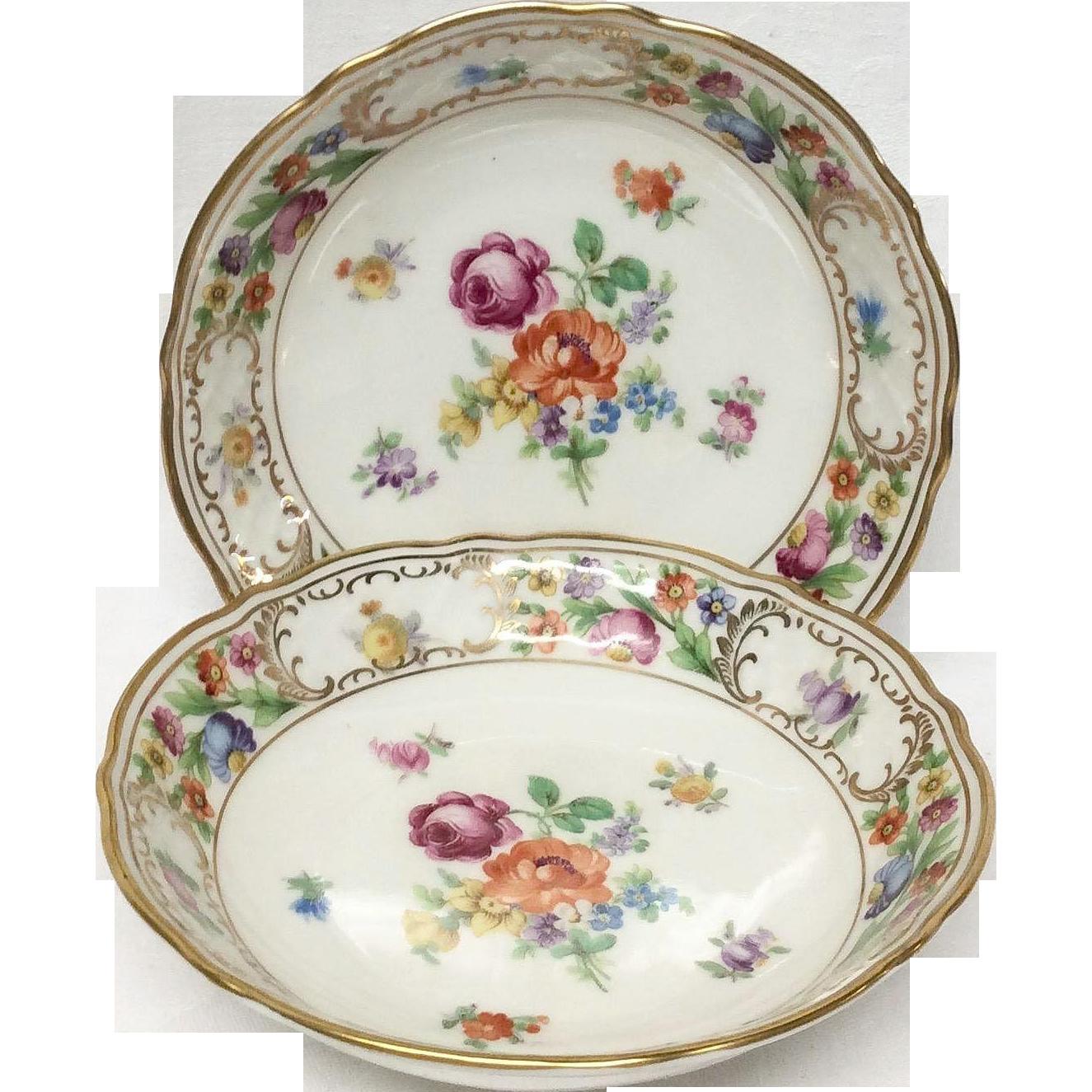 Set(2) Schumann Empress Dresden Flowers Fruit Bowls, U.S. Zone