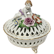 Early 20th Century Von Schierholz Covered Potpourri with Putto