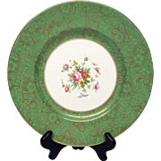 Stunning Minton Green Brocade Pattern Bone China Dinner Plate