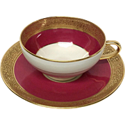 Superb Ahrenfeldt Limoges Ruby & Gold Encrusted Cup & Saucer Ovington's