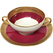 Superb Ahrenfeldt Limoges Ruby & Gold Encrusred Cup & Saucer Ovington's