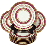 Set(9) GDA Limoges Ruby & Floral Gold Encrusted Plates