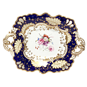 Gorgeous Old Paris Cobalt & Gold Small Dessert Tray
