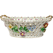 Large Carl Thieme Dresden Pierced Floral Basket