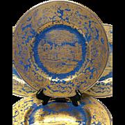 Set(5) Amazing Wedgwood Powder Blue Gold Overlay Scenic Oriental  Plates