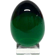 Stunning Baccarat Emerald Green Crystal Egg & Stand