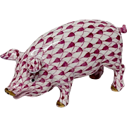 Herend Rose Fishnet Pig