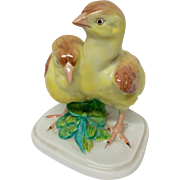 Herend Large Pair of Yellow Chicks Figurine