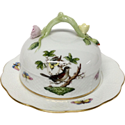 Herend Rothschild Bird Round Covered Butter Dish 393/RO