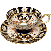 Rare Royal Crown Derby Traditional Imari Cup & Saucer with Decorated Cobalt Foot