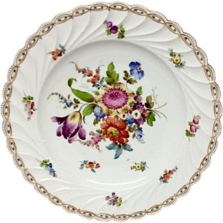 Exquisite Carl Thieme Dresden Charger With Floral Center and Fluted Rim