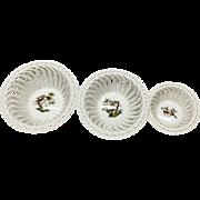 Trio Different Size Herend Rothschild Bird Baskets