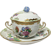 Herend Queen Victoria VBO Lidded Cream Soup Bowl & Saucer