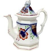 Antique Gaudy Welsh Ironstone Carnation Pattern Coffee Pot