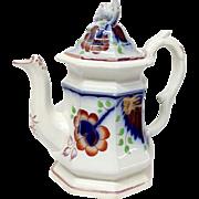 Antique Gaudy Welsh Ironstone Carnation Pattern Coffee Pot