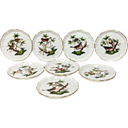 Set (8) Herend Rothschild Bird RO Butter Pats