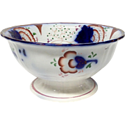 Antique Gaudy Welsh Ironstone Footed Bowl