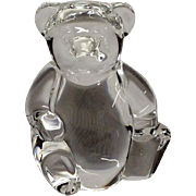 Adorable Signed Steuben Teddy Bear Hand Cooler