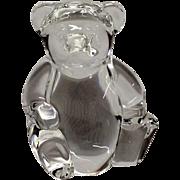 Adorable Signed Steuben Teddy Bear Hand Cooler