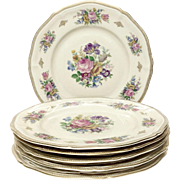 Stunning Set (6) Rosenthal Floral, Gold Service Plates U.S. Zone
