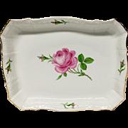 Lovely Meissen Rose Porcelain  Square Baker