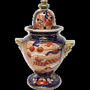 Antique Mason's Patn'd Ironstone Schoolhouse Pattern Potpourri Lidded Vase