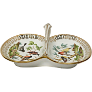 Delightful Von Schierholz Handled Double Candy Dish, Hash Mark
