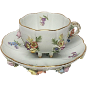 19th Century Meissen Cup & Saucer Applied Flowers