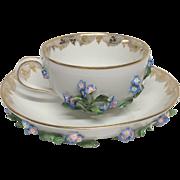 Teacher that Meissen Tea Cup & Saucer Applied Blue Flowers Leaves