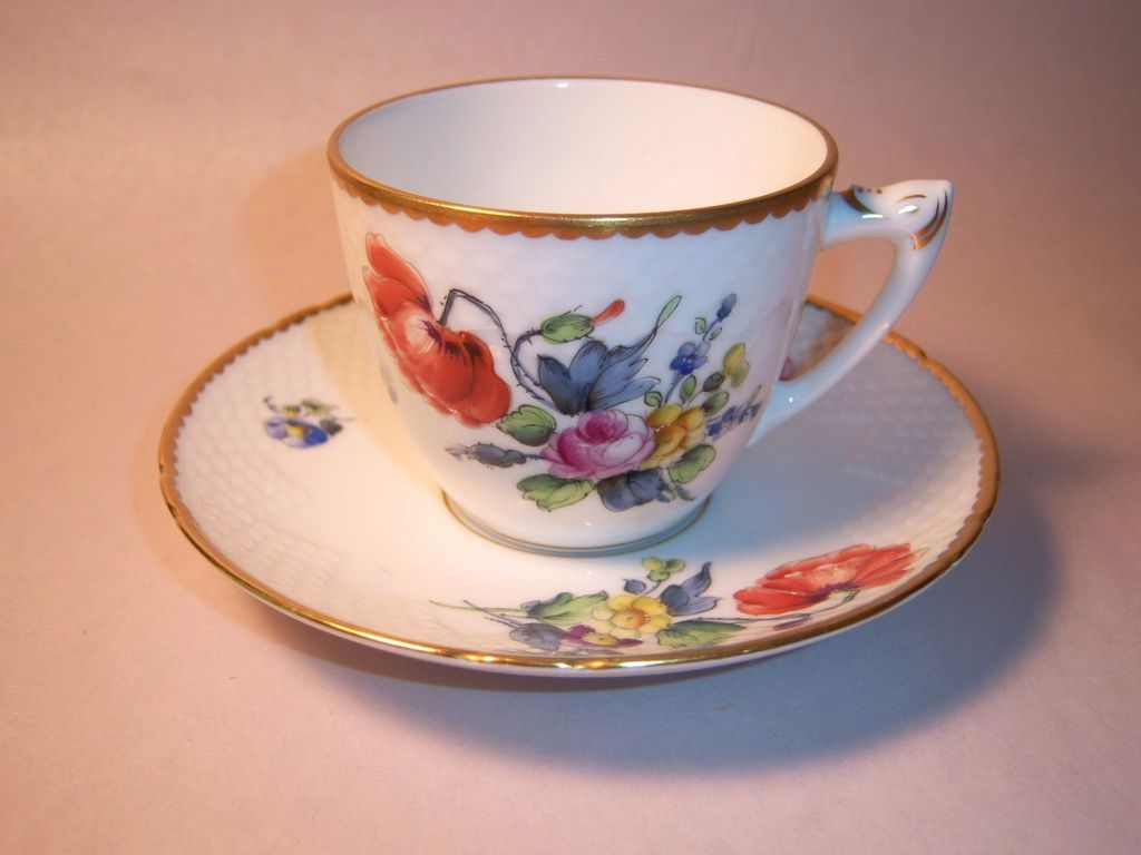 Bing & Grondahl Saxon Flowers White Cup & Saucer Set