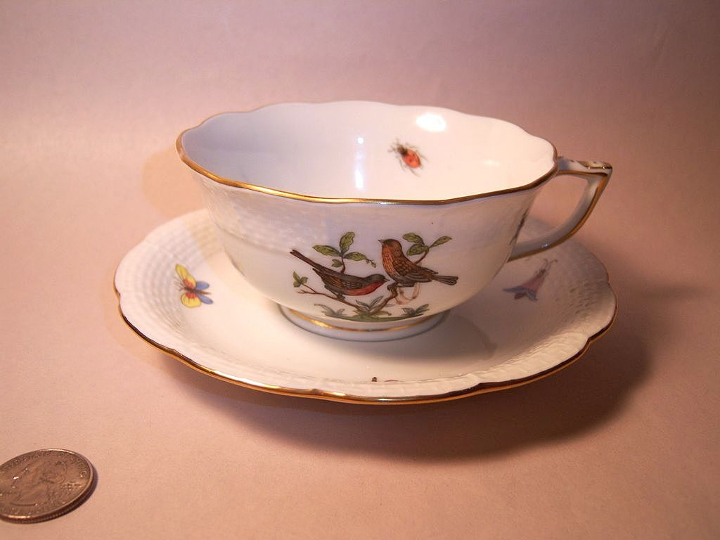 Herend Rothschild Bird (RO) Cup & Saucer