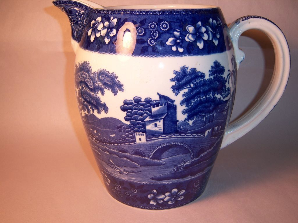 Huge Spode Blue Tower Jug, Old Mark