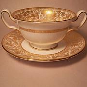 Wedgwood Gold Florentine Cream Soup & Saucer